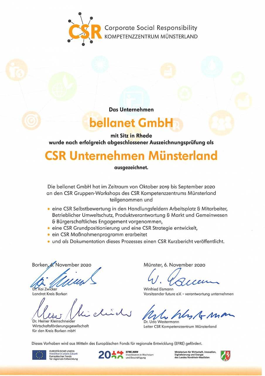 CSR-Urkunde